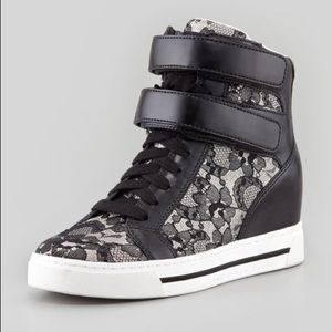 MARC JACOBS Black Leather & Lace Wedge High Tops
